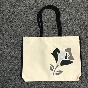 NIP Lancome Canvas Tote Black And Silver Flower